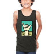 Boys graphic tank top with shaka hand. Cool ladi back Cali Graphic Design by local San Diego, California Artist. Design, Printed, and Sold by San Diego Trading Co.