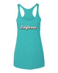 Women's Heather Turquoise racerback tank top with California in white letters outlined by a every color in the rainbow. Great summer pride tank tee.