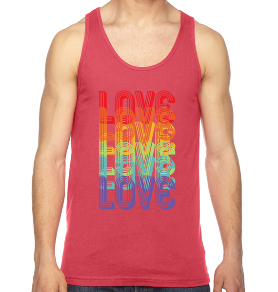 Vintage Red men's muscle tank with Love in rainbow repeated and overlapped in the center in colors red orange yellow green blue purple
