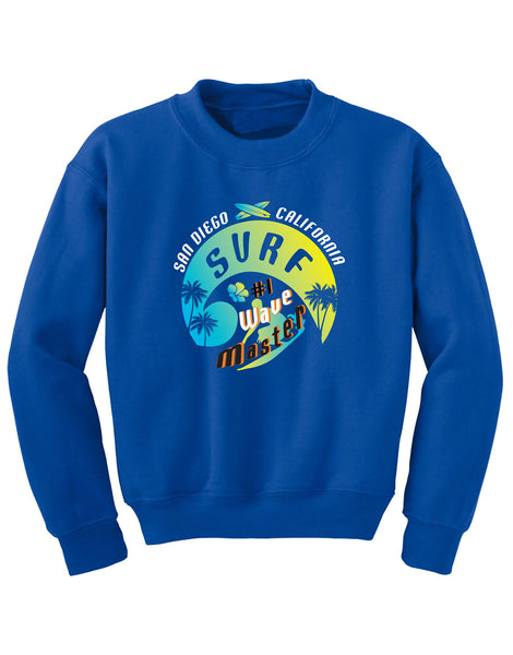 Boys or Girls Youth royal blue  crew neck kids pullover sweatshirt with turquoise and yellow wave graphic print. Text San Diego California Surf #1 Wave Master.  Sold by San Diego Trading Company.