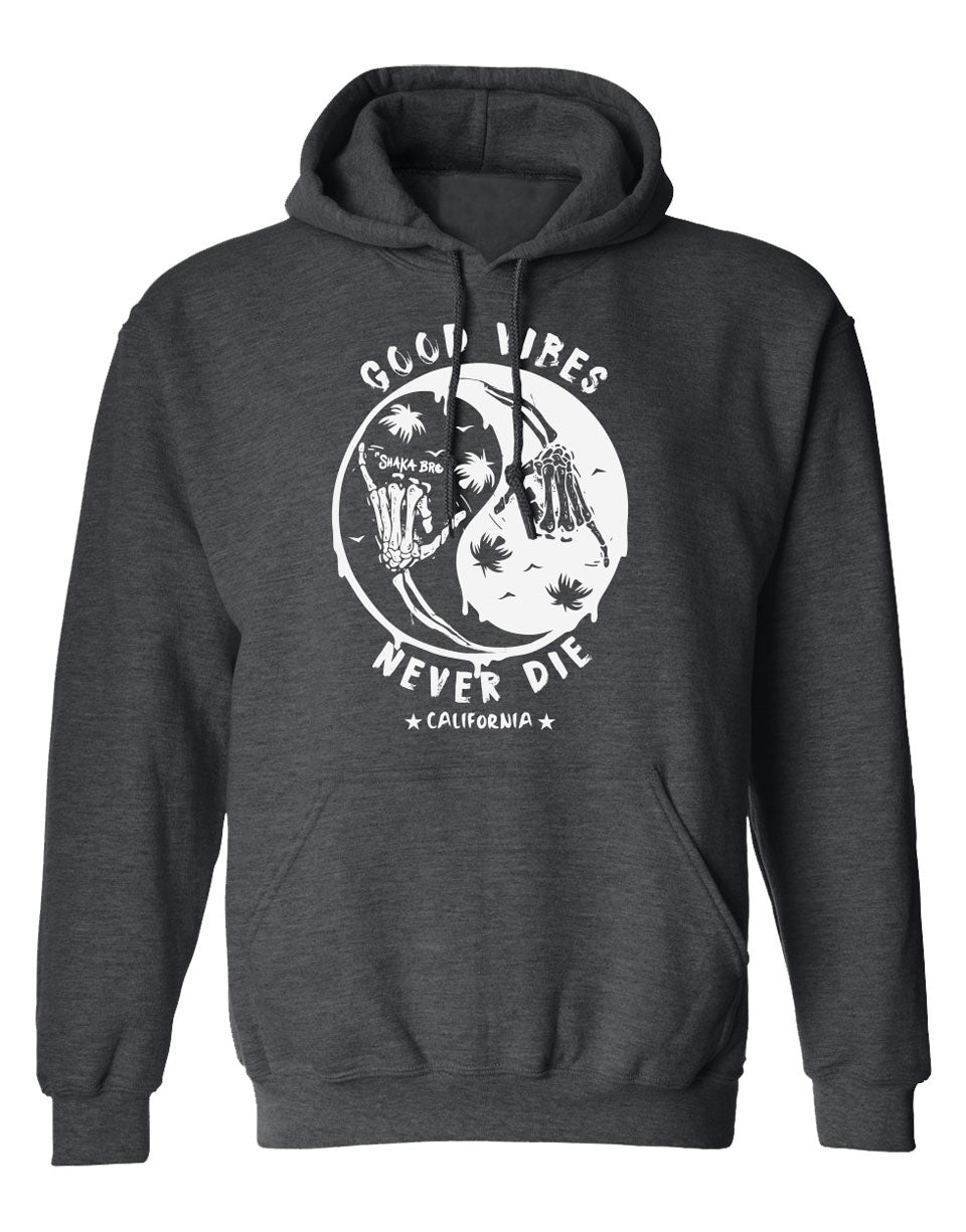 "Heather Charcoal long sleeve hooded sweater that is cool with the jing yang design, shaka skull hands, palms, and birds. Has the message silkcreen printed ""Cool Vibes Never Die, California"". Sold by SDTrading Co. Unique Design for athletic, relaxing, or going out."