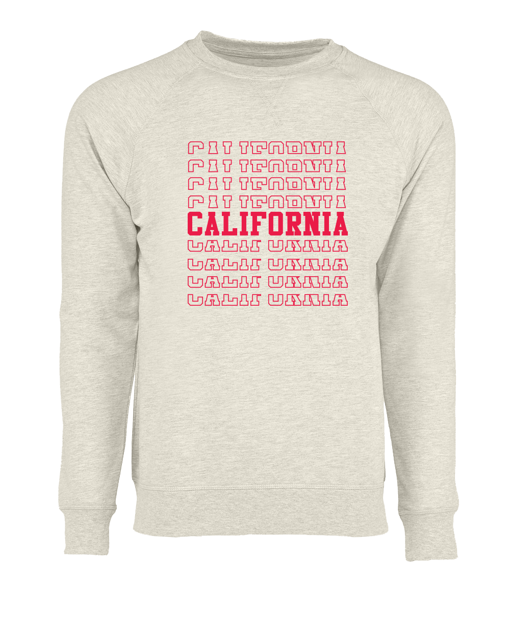 Men or Women Unisex Adult comfortable crew neck pullover sweater in heather oatmeal. Silkscreen printed red graphic text of CALIFORNIA, spin of the THANK YOU grocery bags.  Design is by local artist in San Diego, California. Sold by San Diego Trading Company.