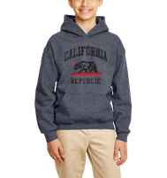 Youth comfortable hooded sweater in Heather Denim Blue with adjustable drawstring strings and kangaroo pockets. Design is by local artist in San Diego, California. Show off your Cali Vibes .
