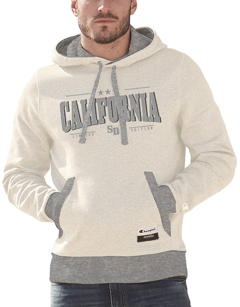 Men or Women Unixes Adult comfortable hooded sweater in the color Oatmeal and Light Gray with adjustable drawstring strings and kangaroo pockets. Design is by local artist in San Diego, California. Champion Graphic Hoodie, with California SD Limited Edition print. Sold by SD Trading Co.