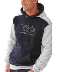 Men or Women Unisex Hooded Pullover sweater on a Navy and White Raglan Sleeve Champion original sweater. Design by local San Diego Artist. Print Geographic California Republic Bear with text California Edition.  Sold Exclusively by SDTrading Co.