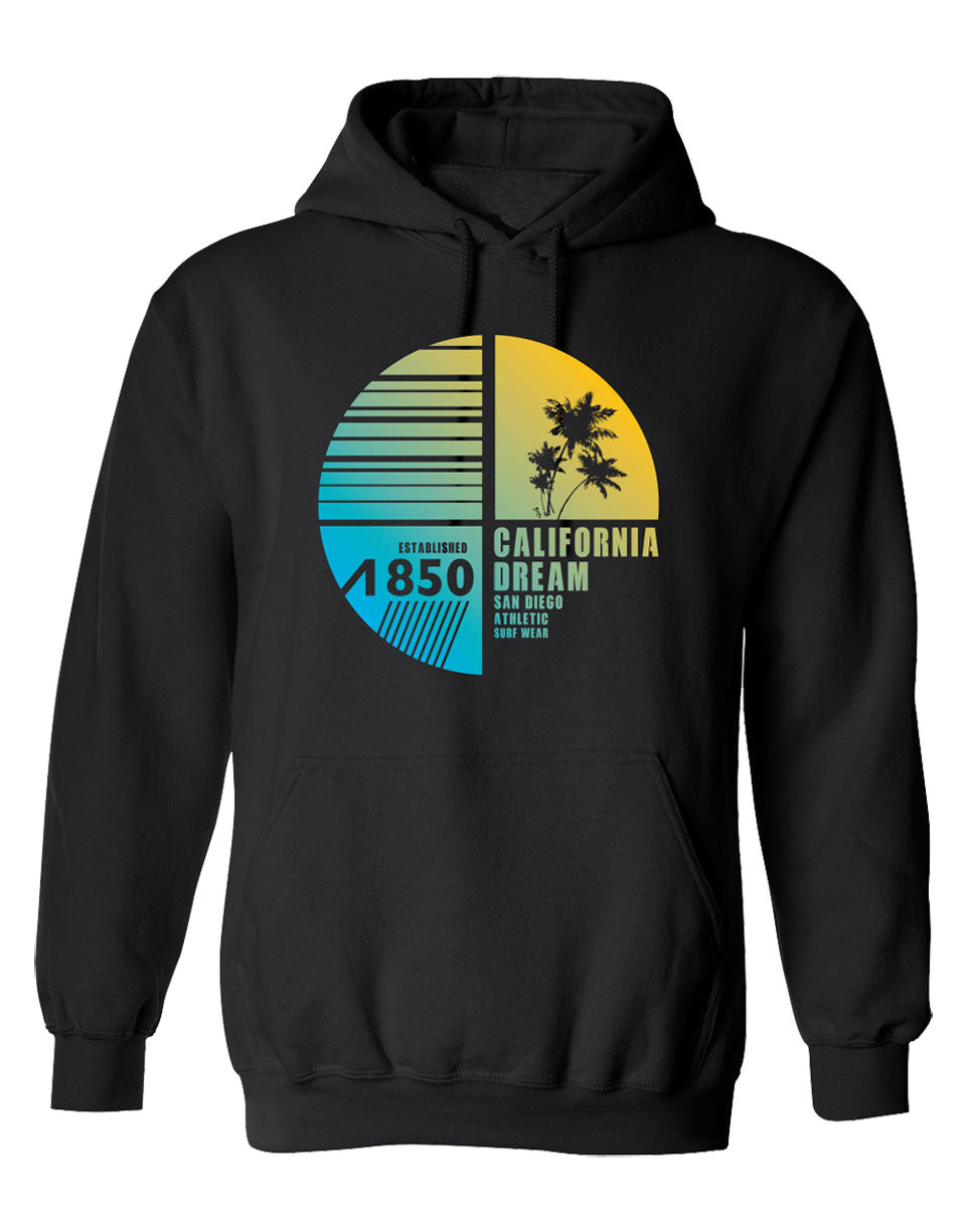 Men or Women Adult comfortable hooded sweater in black with adjustable drawstring strings and kangaroo pockets. Design is by local artist in San Diego, California. Nice yellow Sunset, Clear blue Skies, Palm Tree and Surf Apparel Graphic Hoodie. Sold by San Diego Trading Company.
