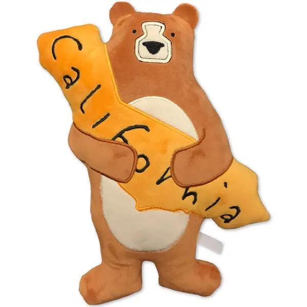 Adorable soft kids brown bear with cute face stuffed animal teddy bear holding yellow state of California toy for children