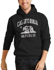 Men or Women Adult comfortable hooded sweater in black with adjustable drawstring strings and kangaroo pockets. Design is by a local artist in San Diego, California. Show off your Cali Vibes .
