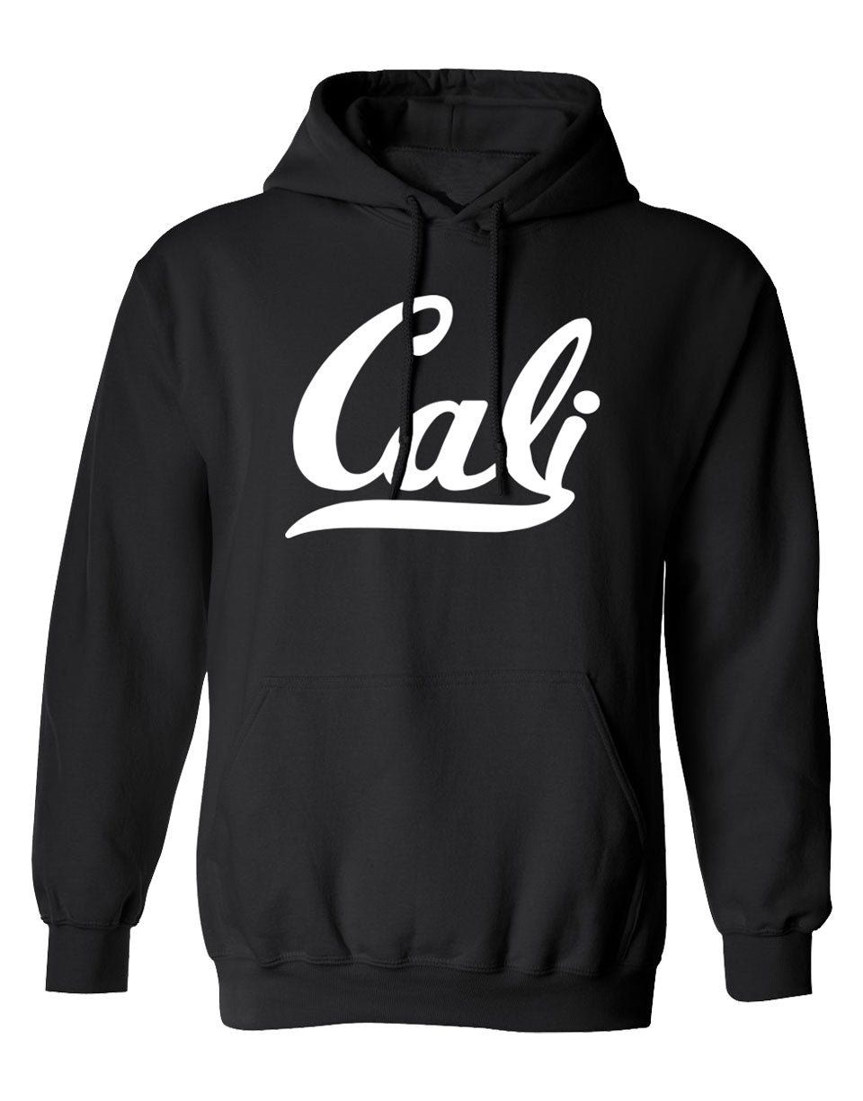 Men or Women Adult comfortable hooded sweater in black with adjustable drawstring strings and kangaroo pockets. Design is by local artist in San Diego, California. Show off your Cali Vibes  with this classy sweater.