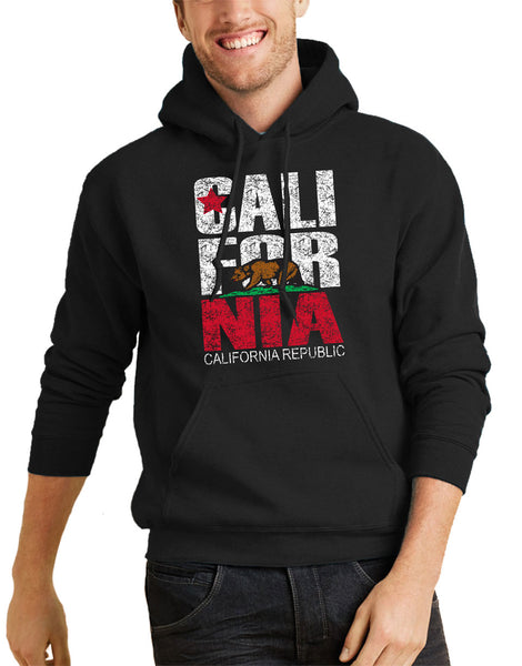 Men or Women Adult comfortable hooded sweater in black with adjustable drawstring strings and kangaroo pockets. Design is by local artist in San Diego, California. Popular Distressed California Flag Graphic Hoodie. Sold by San Diego Trading Company.