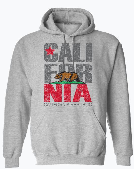 California retro republic grey hoodie with Cali bear and star with Cali For in grey adn nia in red. Brown bear over green grass. A True California piece sweater that is a must. Sold SD Trading Co.