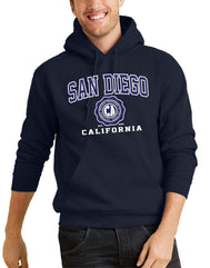 Men or Women Adult Unisex comfortable fleece hooded sweater comes in assorted colors Navy, Oxford, Fuchsia. Has adjustable drawstrings and kangaroo pocket. Design is by local artist in San Diego, California. Graphic Hoodie Sold by San Diego Trading Company.