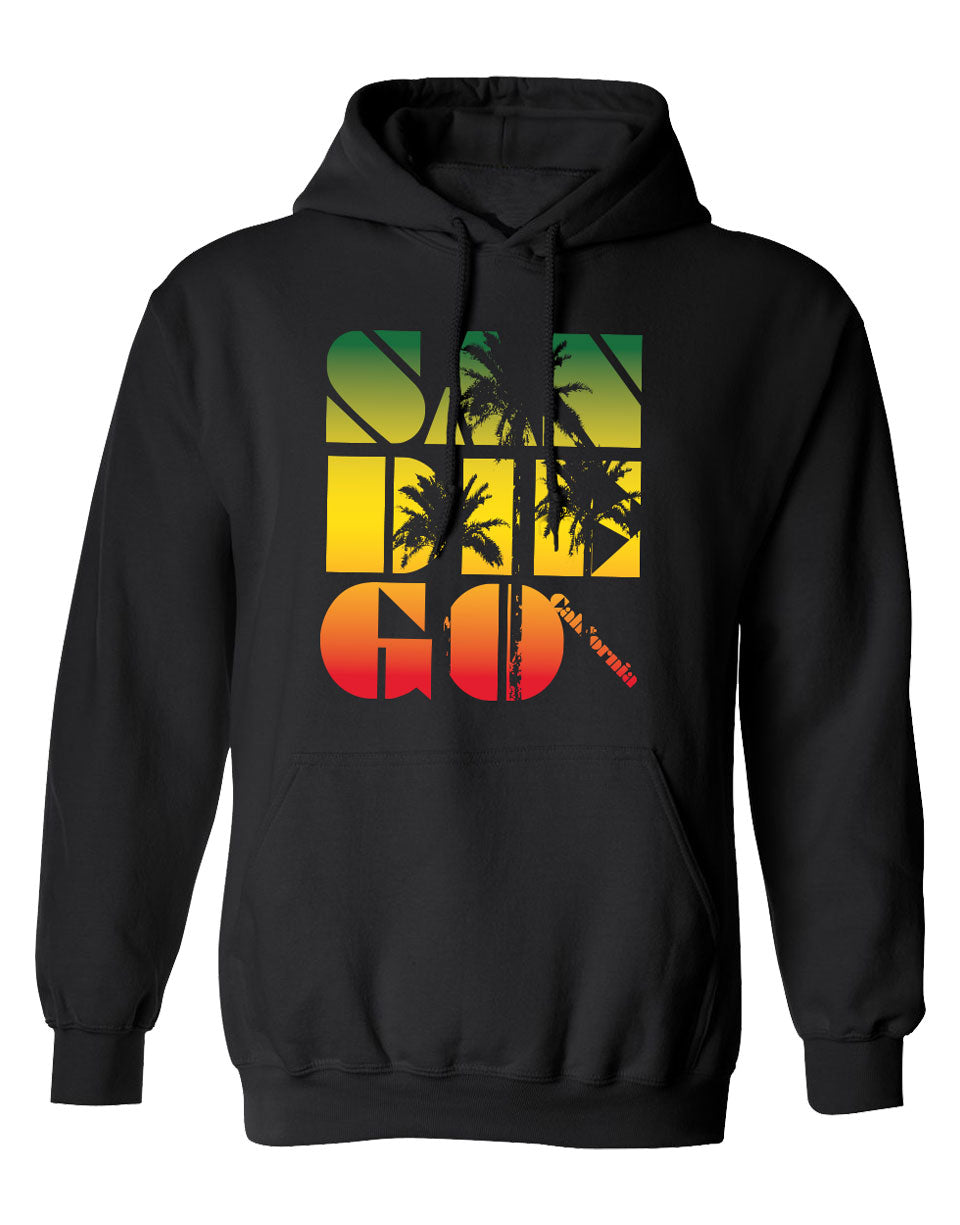 Men or Women Adult Unisex comfortable hooded sweater in black with adjustable draw strings and kangaroo pockets. Design is by local artist in San Diego, California. Rasta Laid back Palm Tree Graphic Hoodie with SAN DIEGO, California printed in green, yellow, and red rasta colors. Sold by SD Trading Co.
