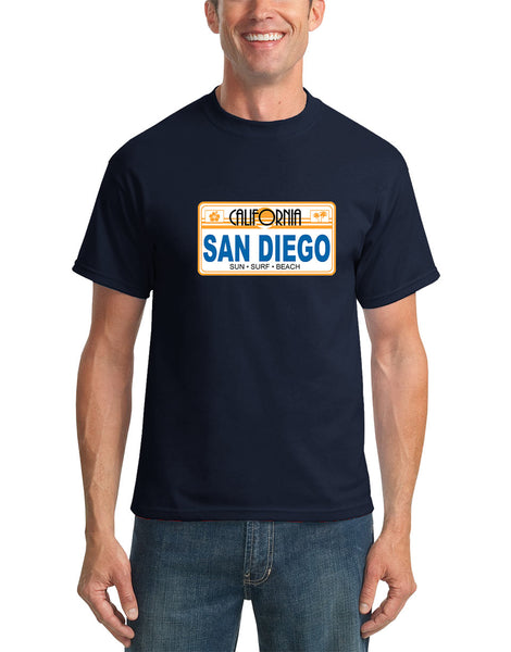 Adult navy short sleeve t shirt with a CA 1982 License Plate with San Diego Sun Surf Beach hibiscus and palm tree icons