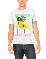 Light heather grey short-sleeve men's t-shirt featuring red, yellow, green rasta colors with California map and palm trees