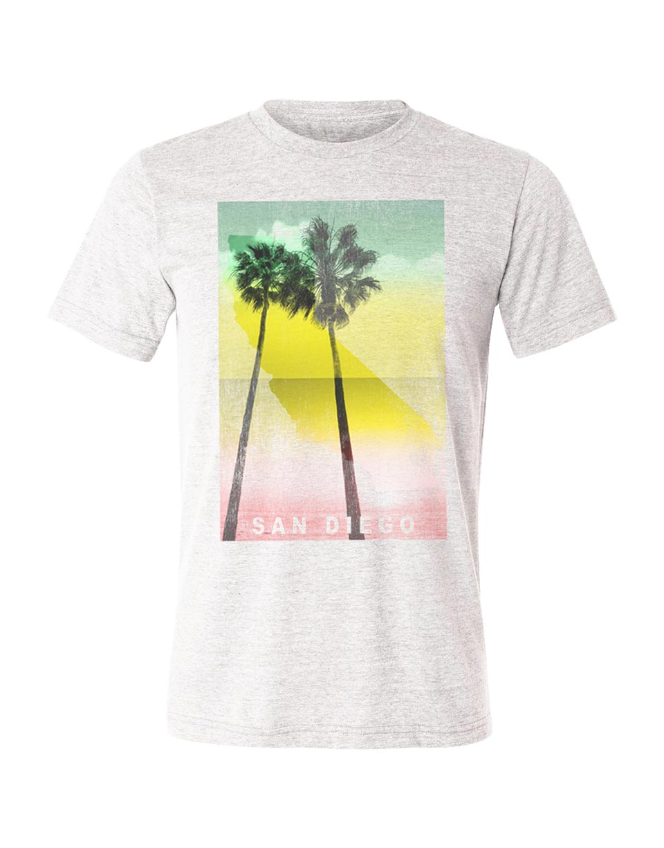 San Diego graphic tshirt design by local San Diego artist. On a light heather white short-sleeve men's t-shirt featuring red, yellow, green rasta colors with California map and palm trees. Sold by local shop SDTrading Co.