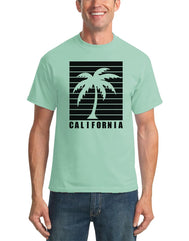 Men's aqua light blue short-sleeve t-shirt with black design print and California verbiage with negative palm tree silhouette