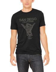 Charcoal heather black short-sleeve t-shirt with distressed grey shaka hand and Beach Surf Rider San Diego California verbiage