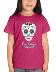 Designed and printed locally in San Diego, California for your little one to enjoy. Sugar Skulls are a Mexican tradition done to celebrate the dead on DOD, day of the dead. Fun colorful cultural artistic graphic tee.