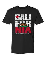 Men's solid black short-sleeve t-shirt with red and white California Republic verbiage and color bear star from flag print