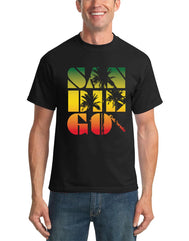 Men's solid black t-shirt with San Diego funky block print in rasta sunset glow colors with palm tree silhouette overlay