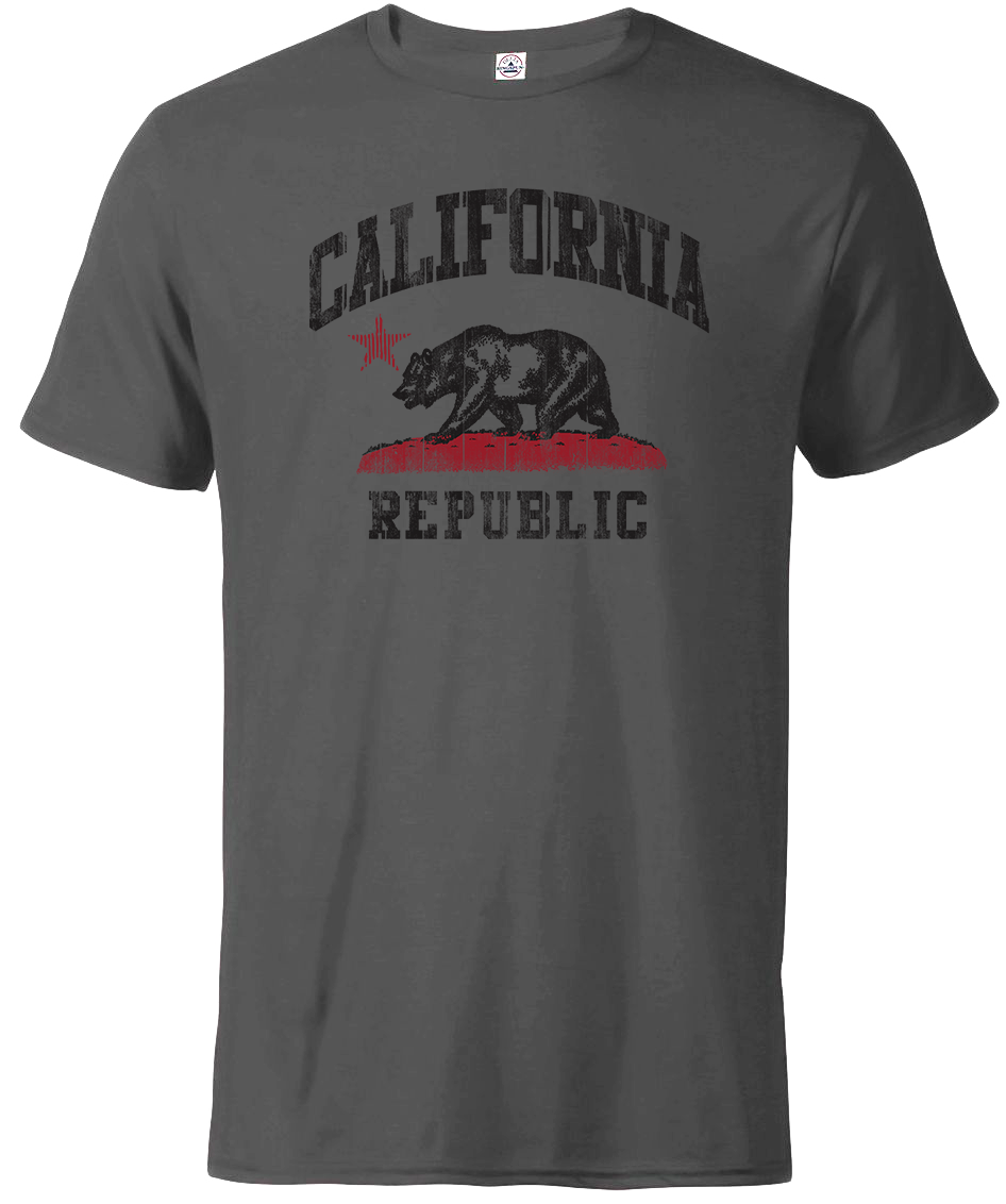 California Republic Charcoal Tshirt printed by local San Diego Shop SDTrading Co. Short Sleeve charcoal tee with California Distressed bear and red and grass, black California and Republic.