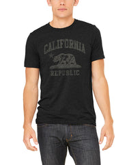 Charcoal heather black short-sleeve t-shirt with distressed white California Republic flag bear and star