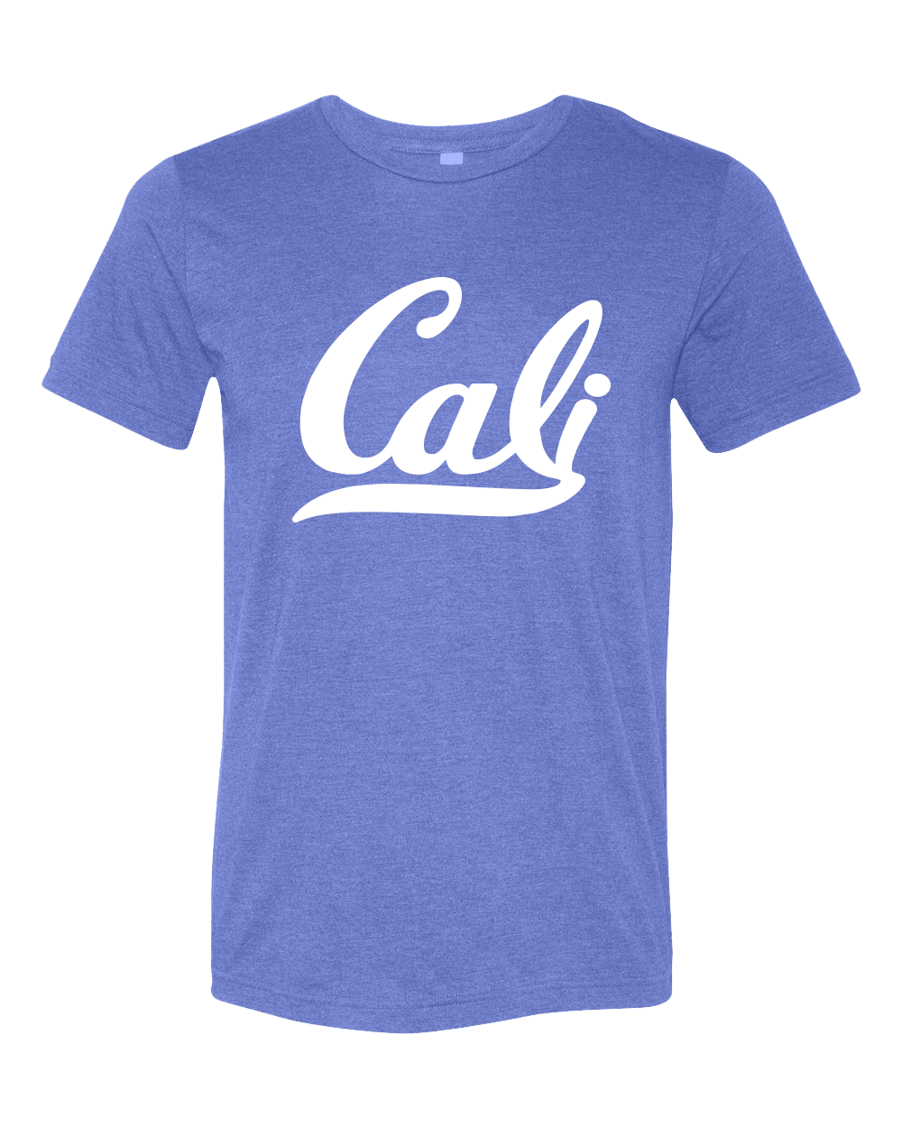 California Cali script printed graphic tshirt for adult men or women. Printed on a premium heather royal soft triblend short sleeve tee, with white Cali script print. Sophisticated shirt that pairs wells with jeans or shorts. Sold by local shop SDTrading Co.