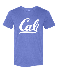 Cali script logo in white on heather blue solid short-sleeve t-shirt