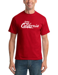 solid red short sleeve tee with Enjoy California in white print Enjoy in a standard font and California in a cursive font mimicking the Coca Cola logo