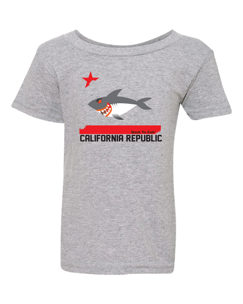 Toddler shark republic flag oxford gray color graphic t-shirt. Fun, Beautiful, Cool and Trendy design. Make an outfit for everyday wear, by local San Diego, California Artist. Design, Printed, and Sold by San Diego Trading Co.