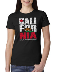 Women's black short-sleeve fitted tee with red and white California Republic verbiage and color bear star from flag print