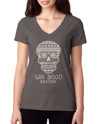 Women's dark heather gray short-sleeve v-neck t-shirt with aztec tribal pattern sugar skull and San Diego California verbiage
