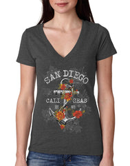 Women's heather grey short-sleeve v-neck tee with San Diego Cali Seas verbiage and anchor print with hibiscus flowers design