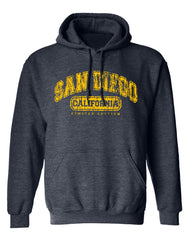 Men or Women Adult comfortable hooded sweater in  Heather Denim blue with adjustable draw strings and kangaroo pockets. Design is by local artist in San Diego, California. San Diego, California distressed limited edition Graphic Hoodie. Sold by SD Trading Co.