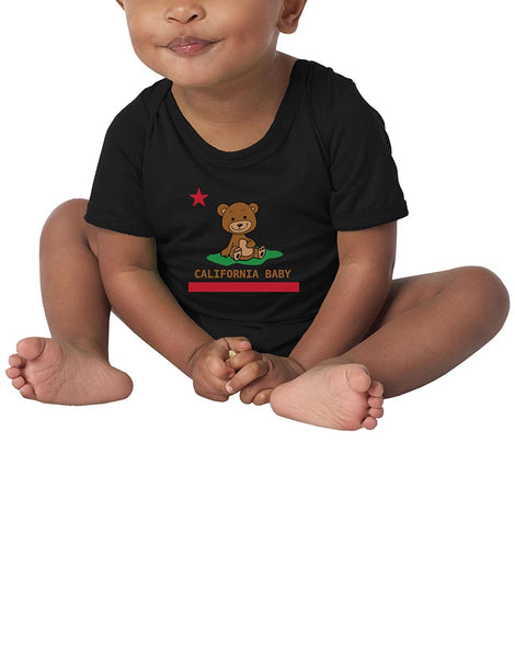 Boy or Girl unisex baby onsie California republic teddy bear republic flag black graphic one piece. Fun, Beautiful, Cool and Trendy design. Make an outfit for everyday wear, by local San Diego, California Artist. Design, Printed, and Sold by San Diego Trading Co.