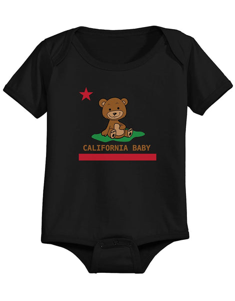 Baby California Republic onesie. Graphic print of brown teddy bear sitting down on a patch of green grass with red star above, and text below California Baby over a red bar line. Trendy design by local San Diego, California Artist. Sold by SDTrading Co.