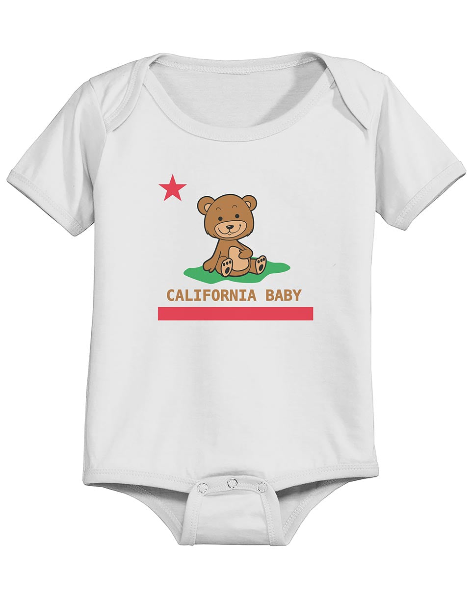 Boy or Girl unisex baby onsie California republic teddy bear republic flag white graphic one piece. Fun, Beautiful, Cool and Trendy design. Make an outfit for everyday wear, by local San Diego, California Artist. Design, Printed, and Sold by San Diego Trading Co.