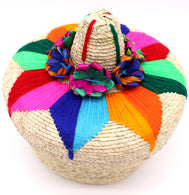 "Handwoven basket for decoration or keeping your tortillas warm. Made with natural palm or corn husk materials. Handcrafted with yarn to make flower design on top. Made in Mexico. Large size eight inch by five, 8"" L x 5"" H; Basket is perfect for food such as warm corn tortillas or small crafts such as puzzles, bows, or any household items. Sold by SDTrading Co."