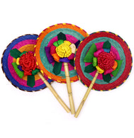 Three assorted hand held fans made with natural materials of palm leaves, corn husk, and bamboo stick. Hand made and painted. Weaved in circular motion, with a flower in the center, and bamboo stick handle. Sold by SDTrading Co.