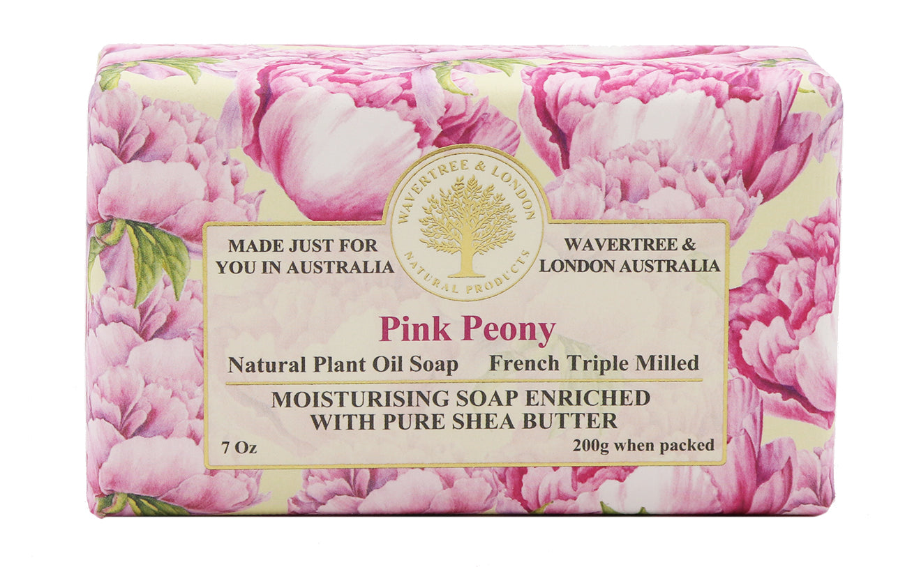 Pink Peony Soap Australian made soaps No SLS, Parabens, detergents or harsh chemicals. Our moistuzing soap is mild and non-drying.