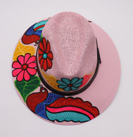 Sombrero : Mexican Hand Painted Birds & Flowers Hat - Pink