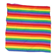 Pride Rainbow handkerchief scarf bandanna for adults or decoration flag. Can be used as a face mask, headscarf, bandana, doo do rag, and to protect from sun and particulars. Show your inclusive, love, prideful, fun, spirited, and colorful side. With this stripe rainbow piece.