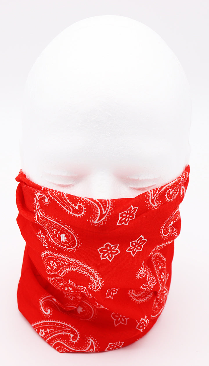 Gaiter Red Face mask paisley pattern in white and solid red background, protection, mask, covid, covid-19 protection, corona virus protection, corona virus, self protection, bandana, bandanas, bandana face mask, headscarf, bandana headscarf, paisley face mask, classic bandana face mask