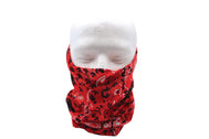 Adult gaiter Red Paisley headscarf, black and white paisley pattern and black and white vine flower over red cloth accessory that easily converts into a headband, wristband, hair-band, neckerchief, beanie, bandana, mouth covering for face mask.