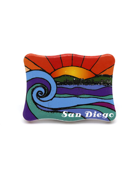 Wavy rectangular magnet featuring a painted sunset with the words San Diego in small white text on the bottom right corner