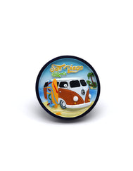 Circular magnet featuring a kombi van and words San Diego California