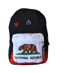 California Republic Flag Backpack with front zip pocket and Boards Across Patch exlusive patch. Patch is design in San Diego California by local artist, exlusive product of SDTrading Co.