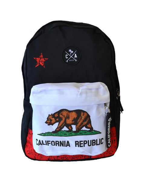 California flag backpack with front zip pocket and Boards Across Patch
