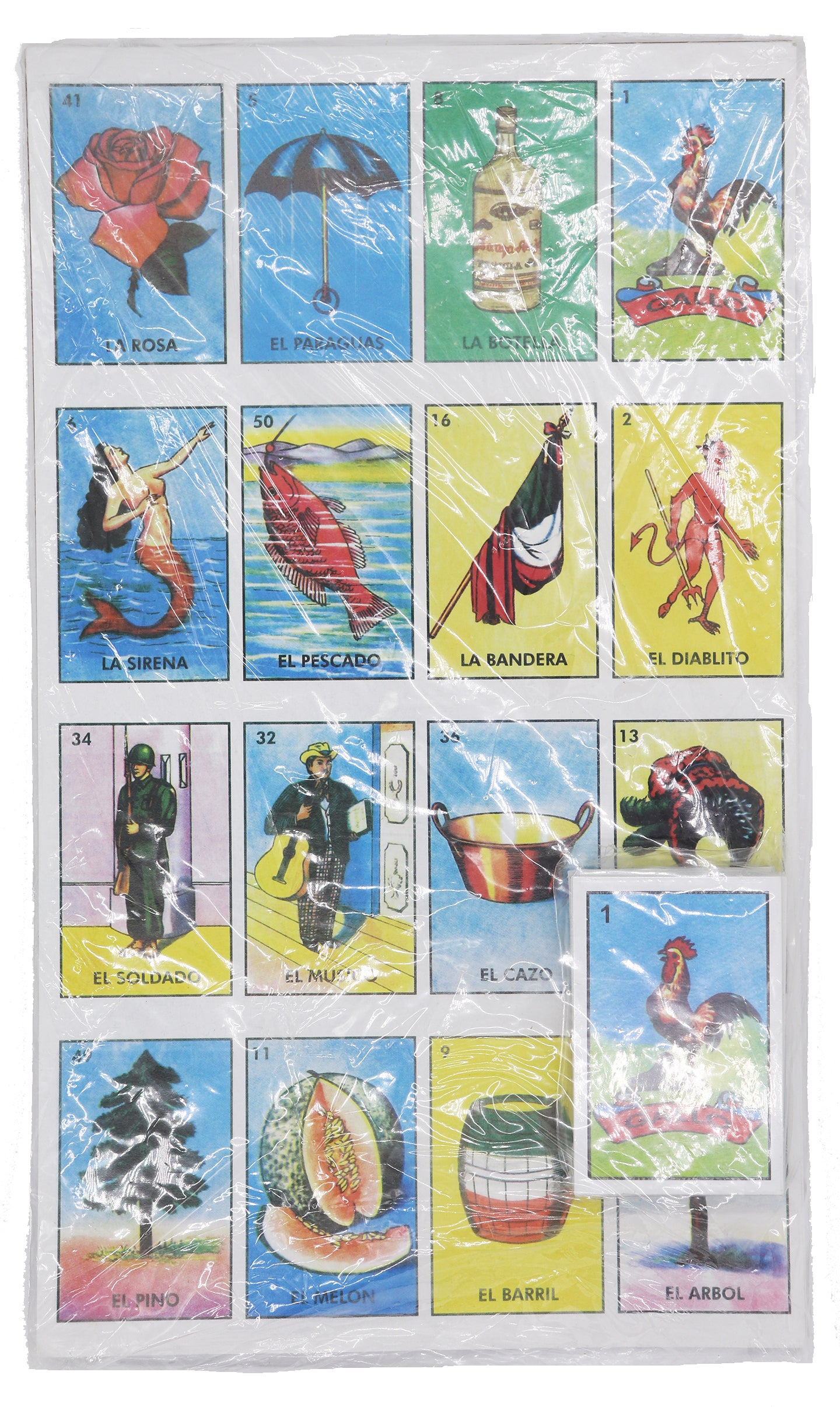 Packaging of jumbo Mexican bingo card game Loteria with several gorgeous colorful prints of different cards and characters
